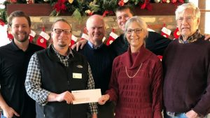 check presentation at Bold Rock cidery